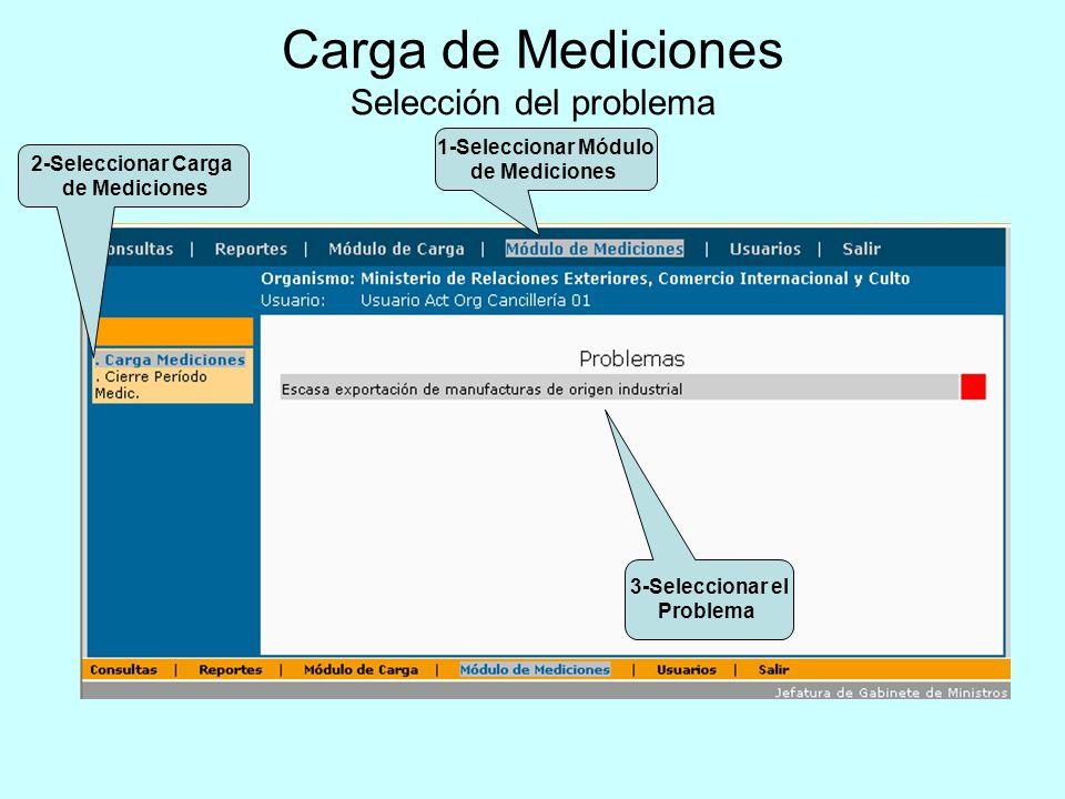 Carga de Mediciones Selección del problema