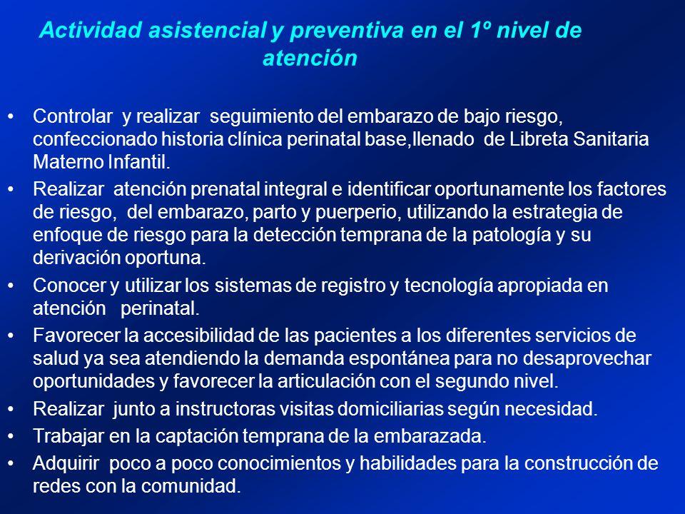 Actividad asistencial y preventiva en el 1º nivel de atención