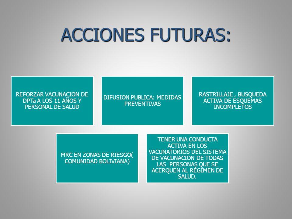 ACCIONES FUTURAS: REFORZAR VACUNACION DE DPTa A LOS 11 AÑOS Y PERSONAL DE SALUD. DIFUSION PUBLICA: MEDIDAS PREVENTIVAS.