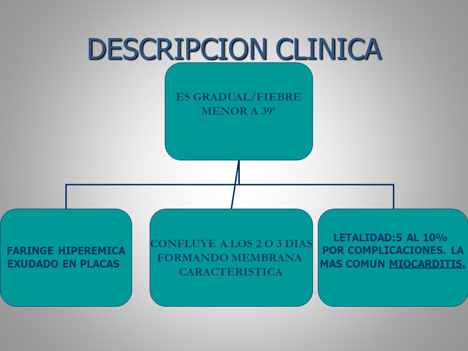DESCRIPCION CLINICA ES GRADUAL/FIEBRE MENOR A 39ª