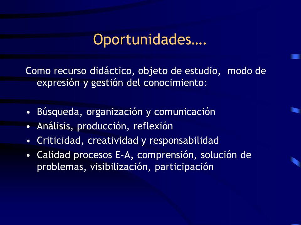 Oportunidades…. Como recurso didáctico, objeto de estudio, modo de expresión y gestión del conocimiento: