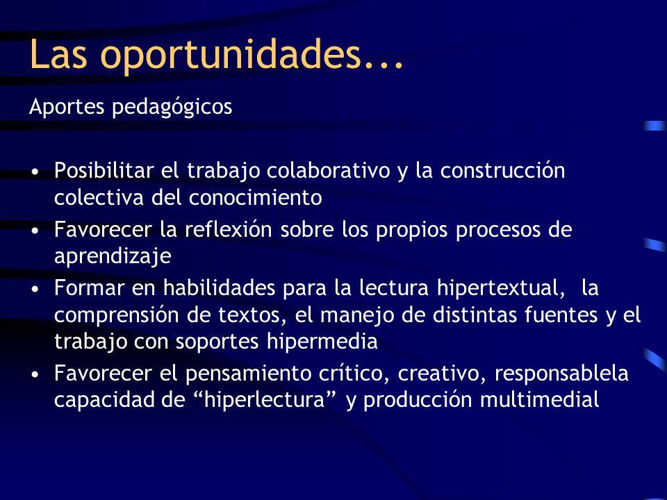 Las oportunidades... Aportes pedagógicos