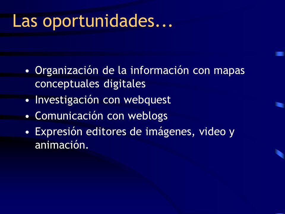 Las oportunidades... Organización de la información con mapas conceptuales digitales. Investigación con webquest.