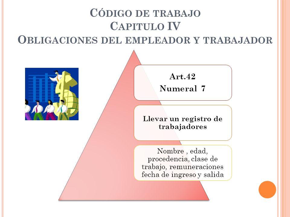 Código de trabajo Capitulo IV Obligaciones del empleador y trabajador