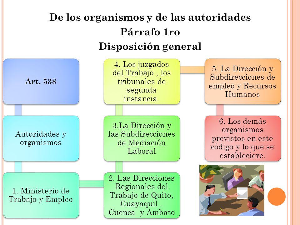 De los organismos y de las autoridades Párrafo 1ro Disposición general