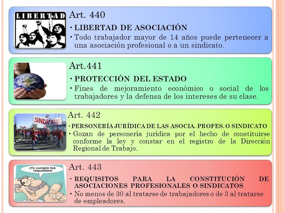 Art. 440LIBERTAD DE ASOCIACIÓN. Todo trabajador mayor de 14 años puede pertenecer a una asociación profesional o a un sindicato.