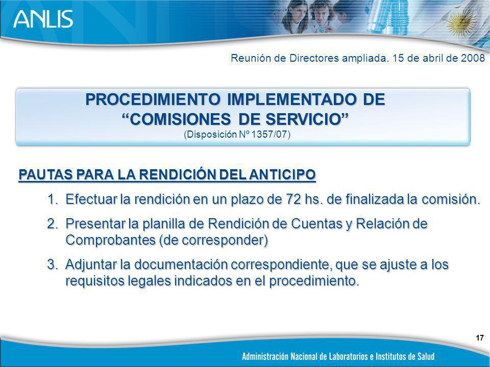 PROCEDIMIENTO IMPLEMENTADO DE COMISIONES DE SERVICIO