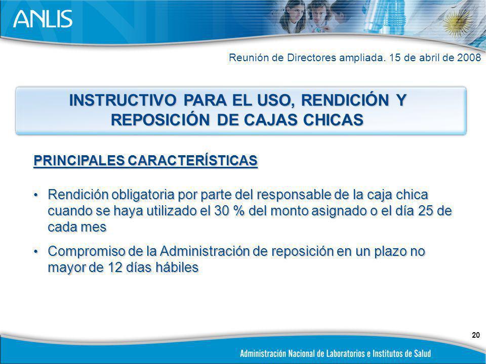 INSTRUCTIVO PARA EL USO, RENDICIÓN Y REPOSICIÓN DE CAJAS CHICAS