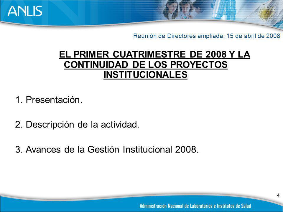 Descripción de la actividad. Avances de la Gestión Institucional 2008.