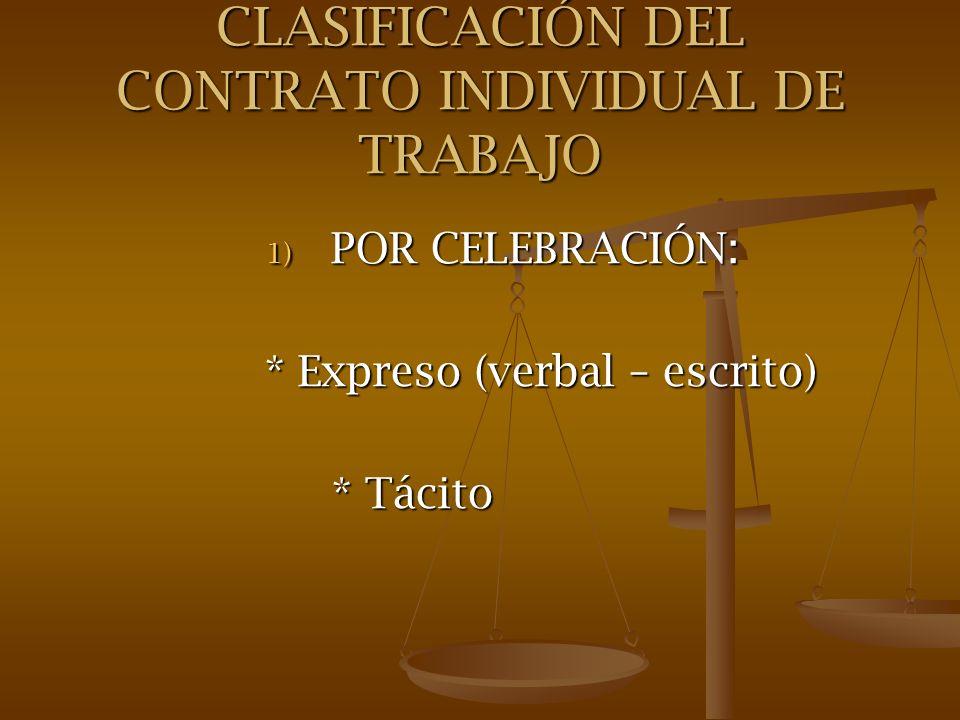 CLASIFICACIÓN DEL CONTRATO INDIVIDUAL DE TRABAJO
