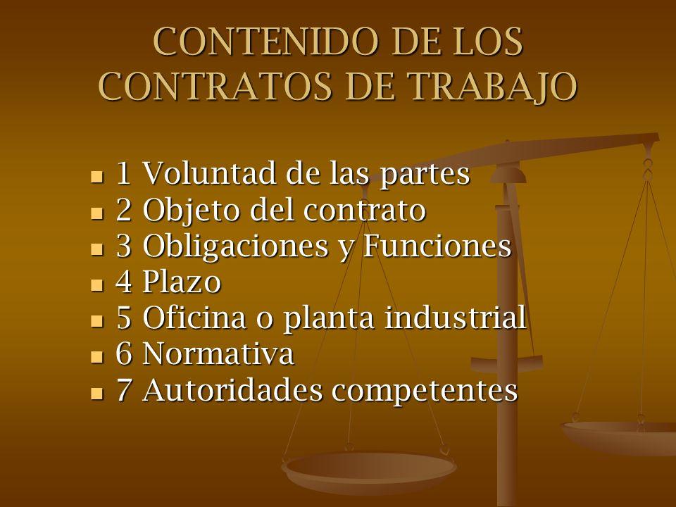 CONTENIDO DE LOS CONTRATOS DE TRABAJO