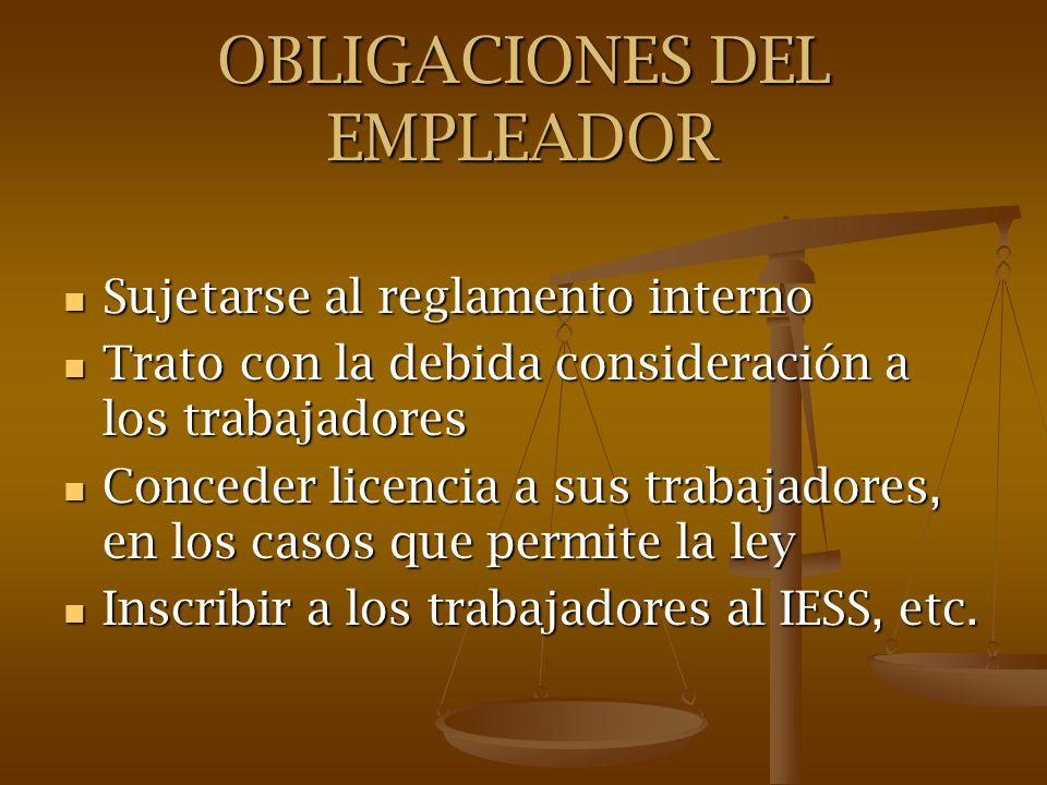 OBLIGACIONES DEL EMPLEADOR