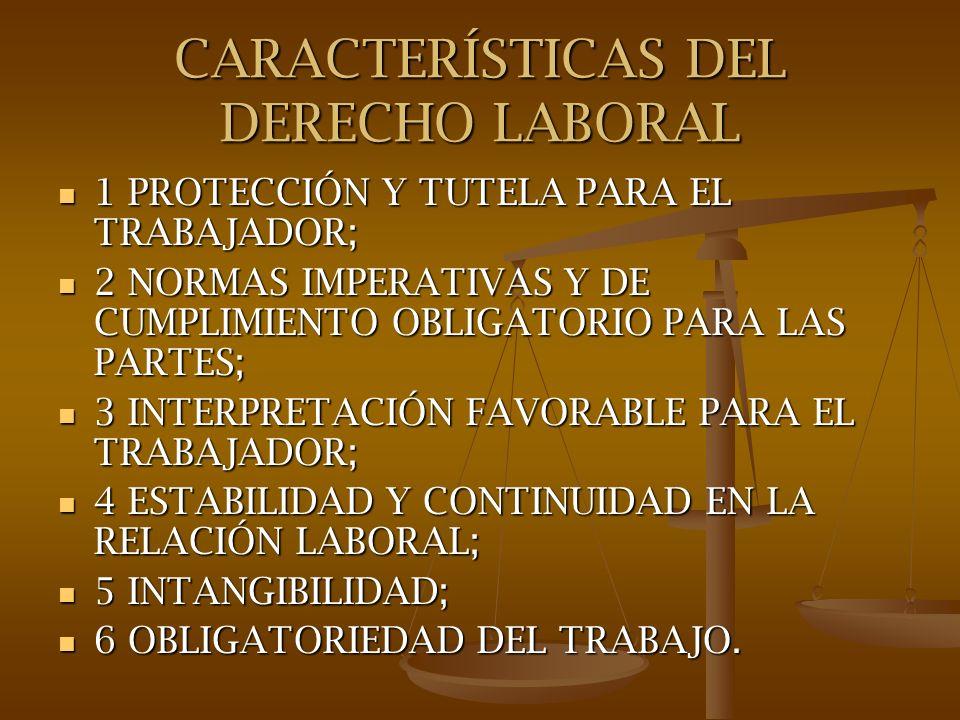 CARACTERÍSTICAS DEL DERECHO LABORAL
