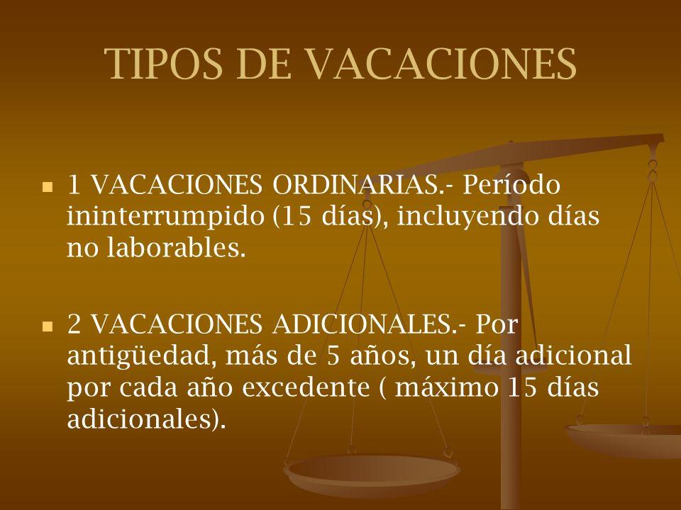 TIPOS DE VACACIONES 1 VACACIONES ORDINARIAS.- Período ininterrumpido (15 días), incluyendo días no laborables.