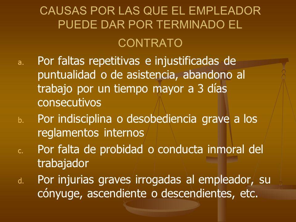 CAUSAS POR LAS QUE EL EMPLEADOR PUEDE DAR POR TERMINADO EL CONTRATO