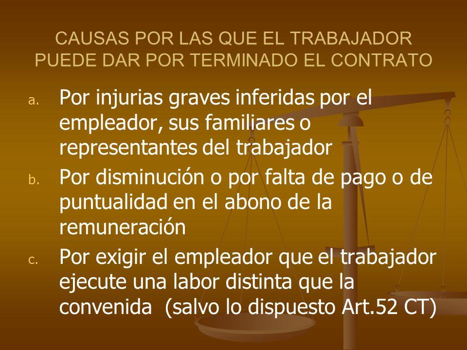CAUSAS POR LAS QUE EL TRABAJADOR PUEDE DAR POR TERMINADO EL CONTRATO