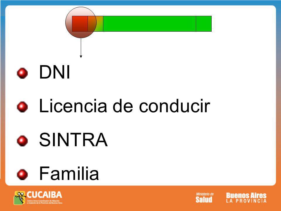 DNI Licencia de conducir SINTRA Familia
