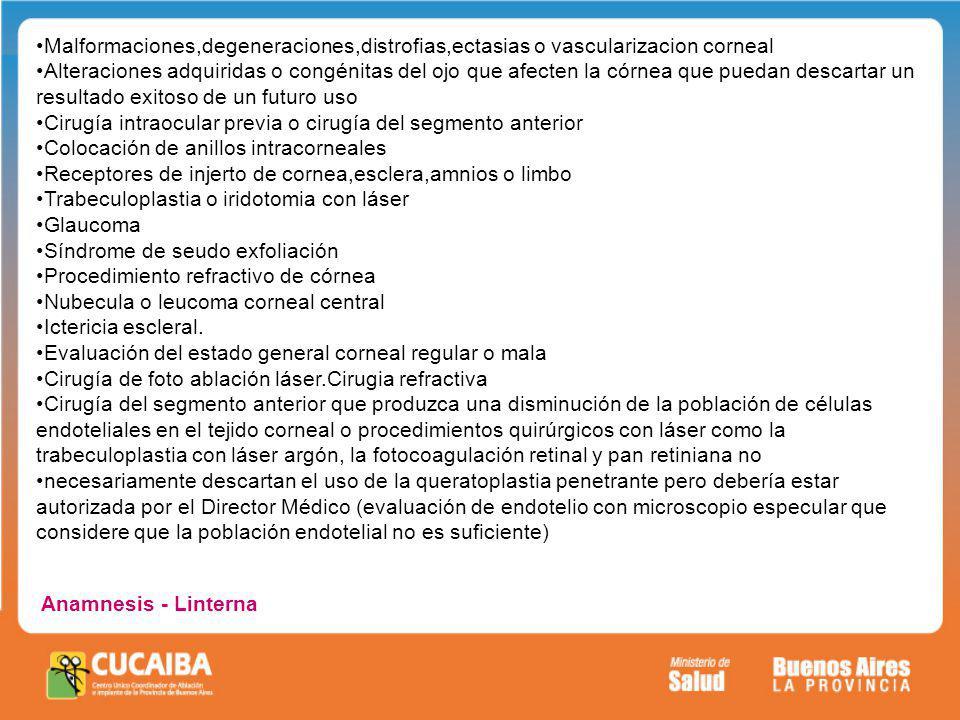 Malformaciones,degeneraciones,distrofias,ectasias o vascularizacion corneal