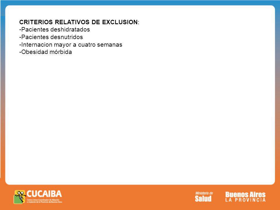 E CRITERIOS RELATIVOS DE EXCLUSION: -Pacientes deshidratados