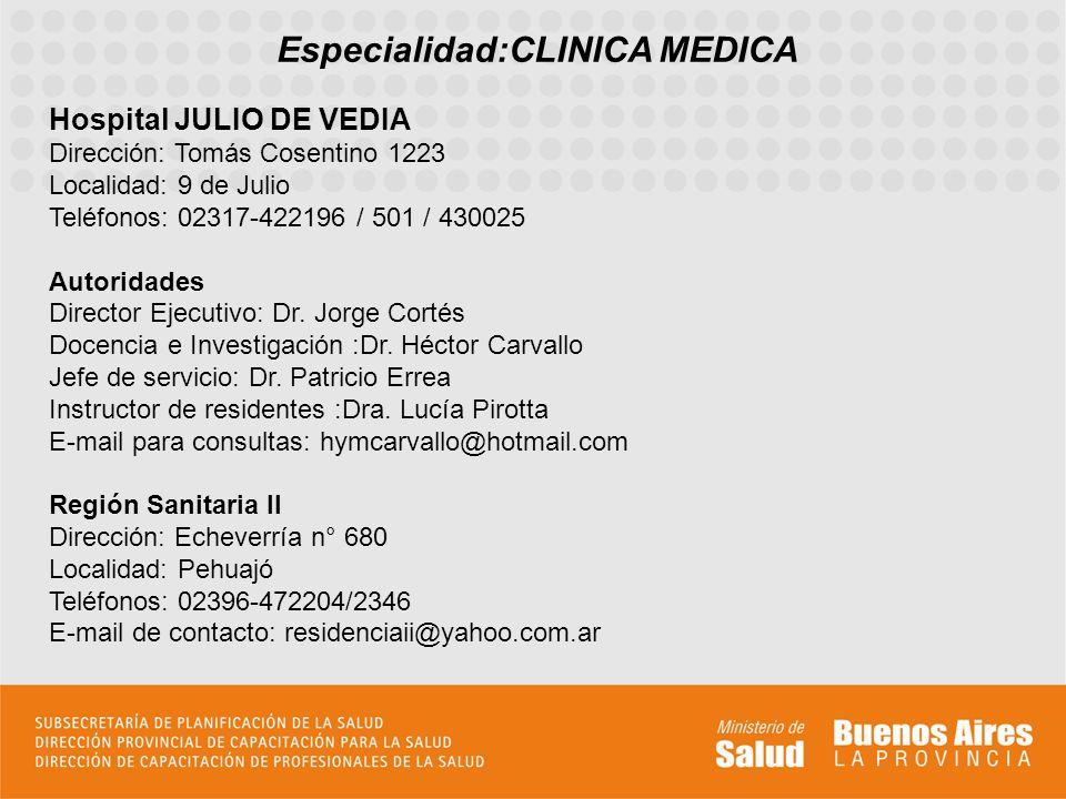 Especialidad:CLINICA MEDICA