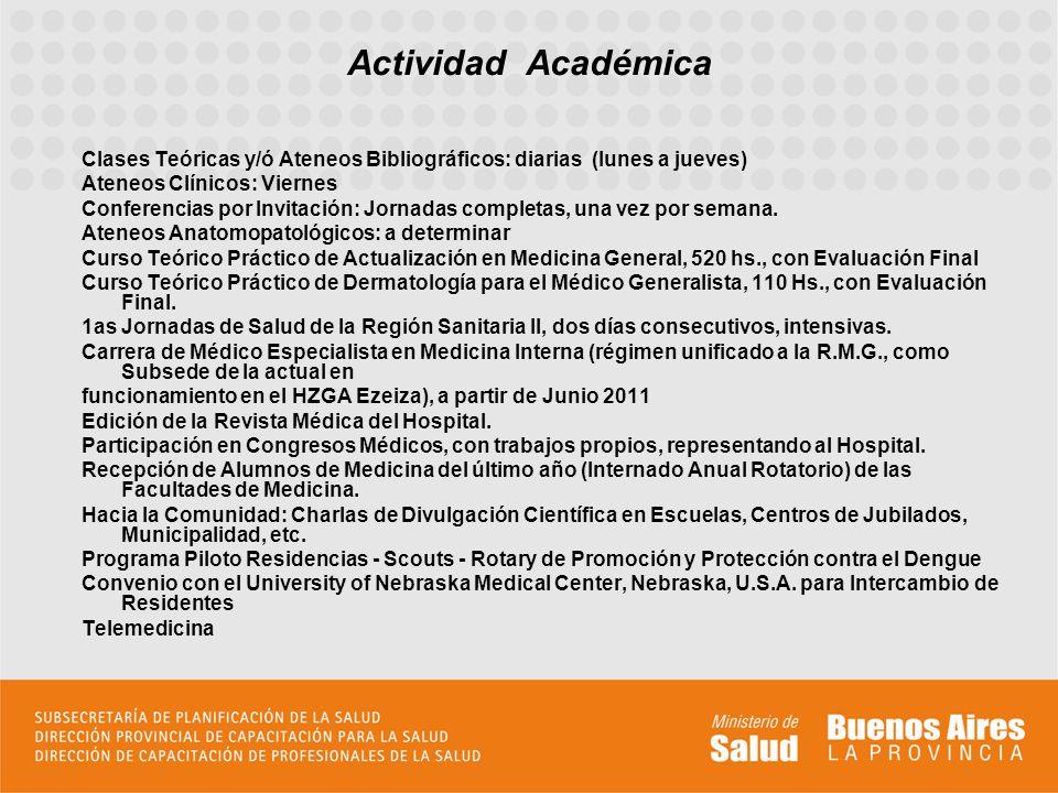 Actividad Académica Clases Teóricas y/ó Ateneos Bibliográficos: diarias (lunes a jueves) Ateneos Clínicos: Viernes.
