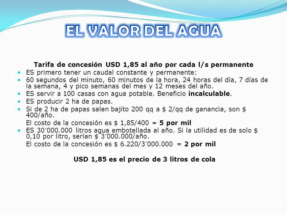 EL VALOR DEL AGUA Tarifa de concesión USD 1,85 al año por cada l/s permanente. ES primero tener un caudal constante y permanente: