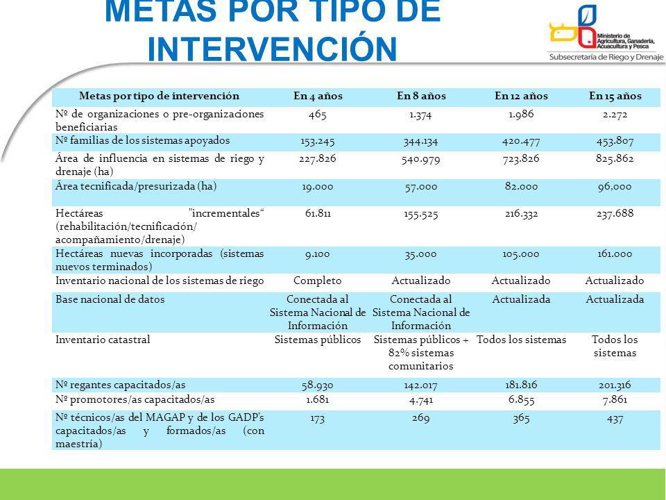 METAS POR TIPO DE INTERVENCIÓN Metas por tipo de intervención