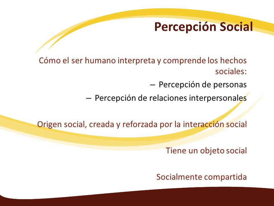 Percepción Social Cómo el ser humano interpreta y comprende los hechos sociales: Percepción de personas.