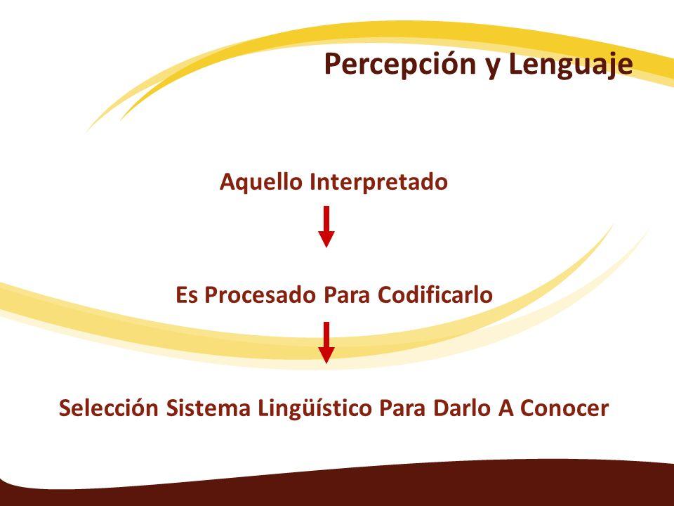 Percepción y Lenguaje Aquello Interpretado