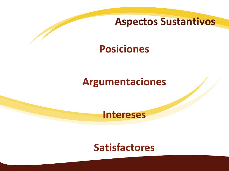 Aspectos Sustantivos Posiciones Argumentaciones Intereses Satisfactores