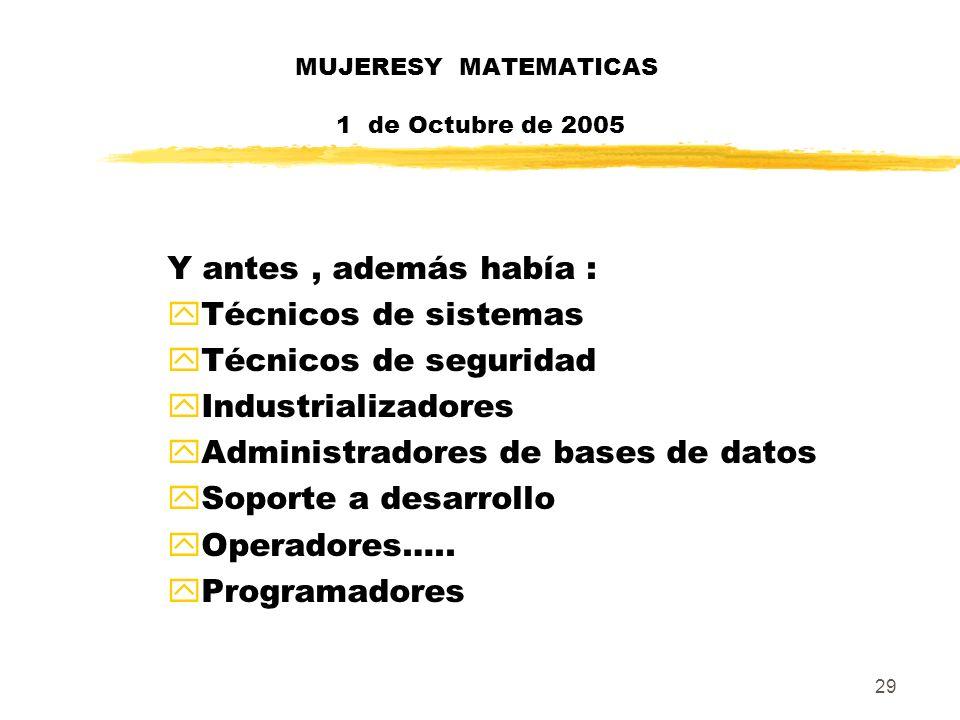 MUJERESY MATEMATICAS 1 de Octubre de 2005