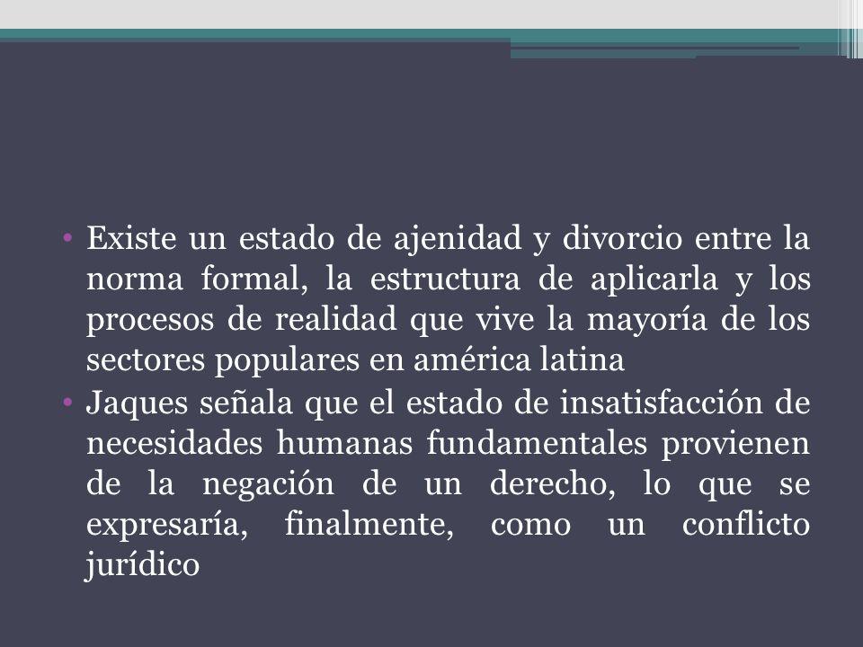 Existe un estado de ajenidad y divorcio entre la norma formal, la estructura de aplicarla y los procesos de realidad que vive la mayoría de los sectores populares en américa latina