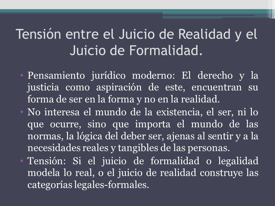 Tensión entre el Juicio de Realidad y el Juicio de Formalidad.