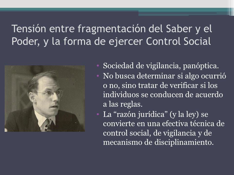Tensión entre fragmentación del Saber y el Poder, y la forma de ejercer Control Social