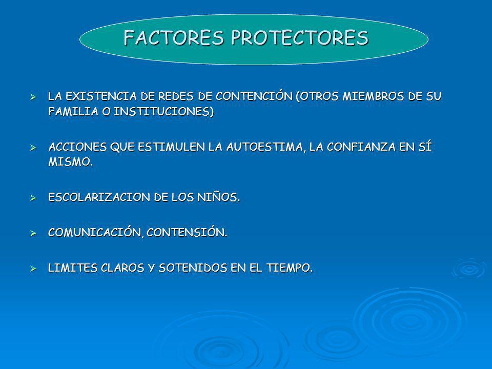 FACTORES PROTECTORES LA EXISTENCIA DE REDES DE CONTENCIÓN (OTROS MIEMBROS DE SU FAMILIA O INSTITUCIONES)