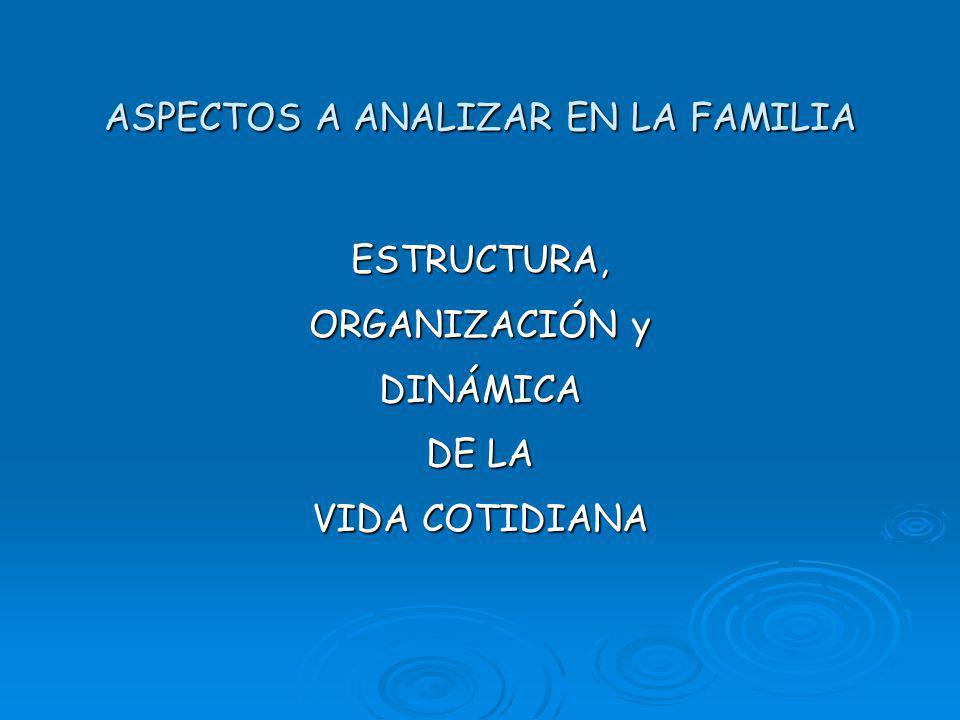 ASPECTOS A ANALIZAR EN LA FAMILIA