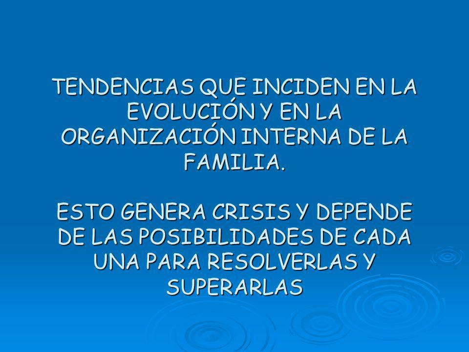 TENDENCIAS QUE INCIDEN EN LA EVOLUCIÓN Y EN LA ORGANIZACIÓN INTERNA DE LA FAMILIA.