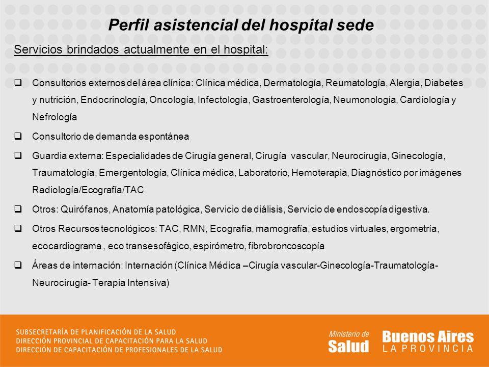 Perfil asistencial del hospital sede