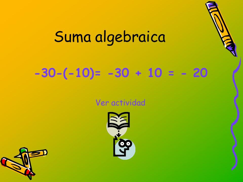 Suma algebraica -30-(-10)= -30 + 10 = - 20 Ver actividad