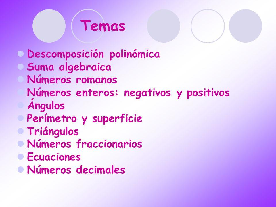 Temas Descomposición polinómica Suma algebraica Números romanos