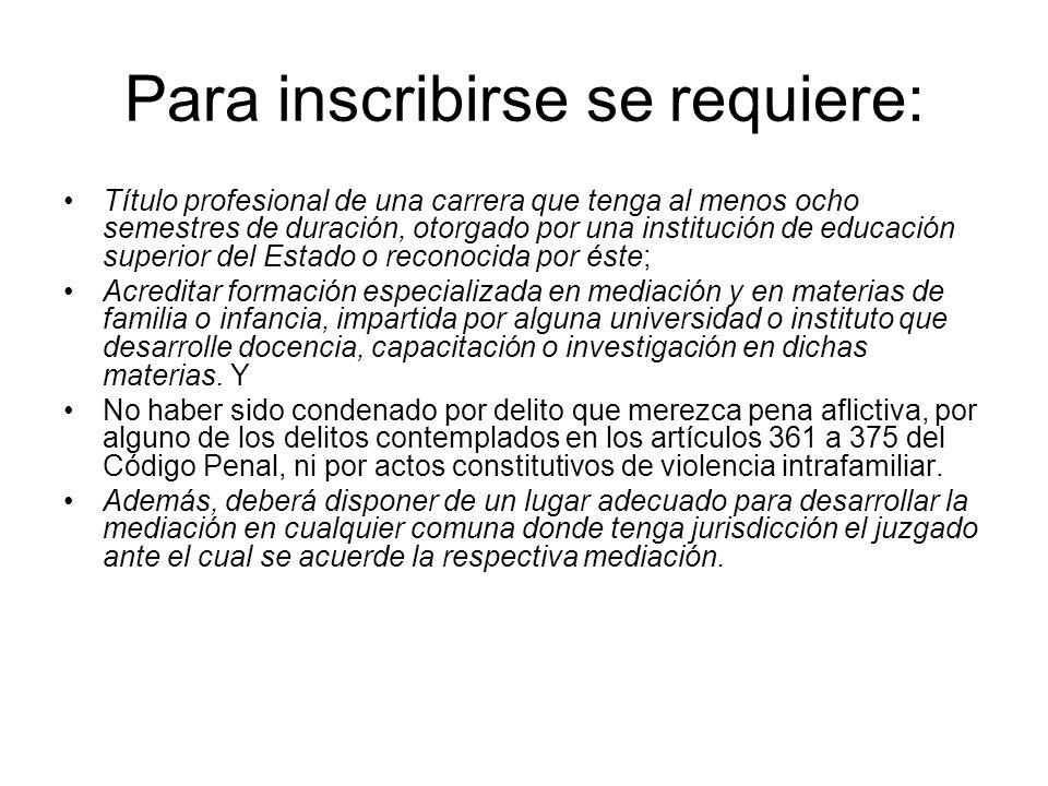 Para inscribirse se requiere: