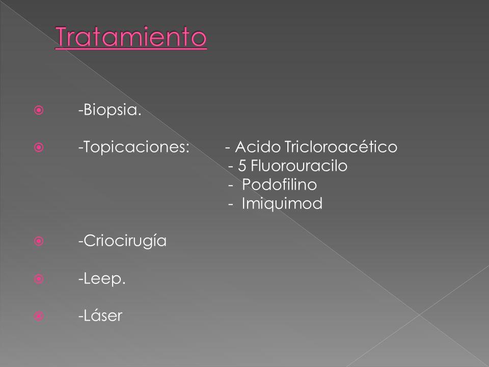 Tratamiento -Biopsia. -Topicaciones: - Acido Tricloroacético