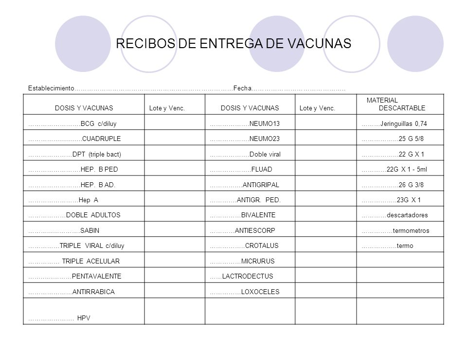 RECIBOS DE ENTREGA DE VACUNAS