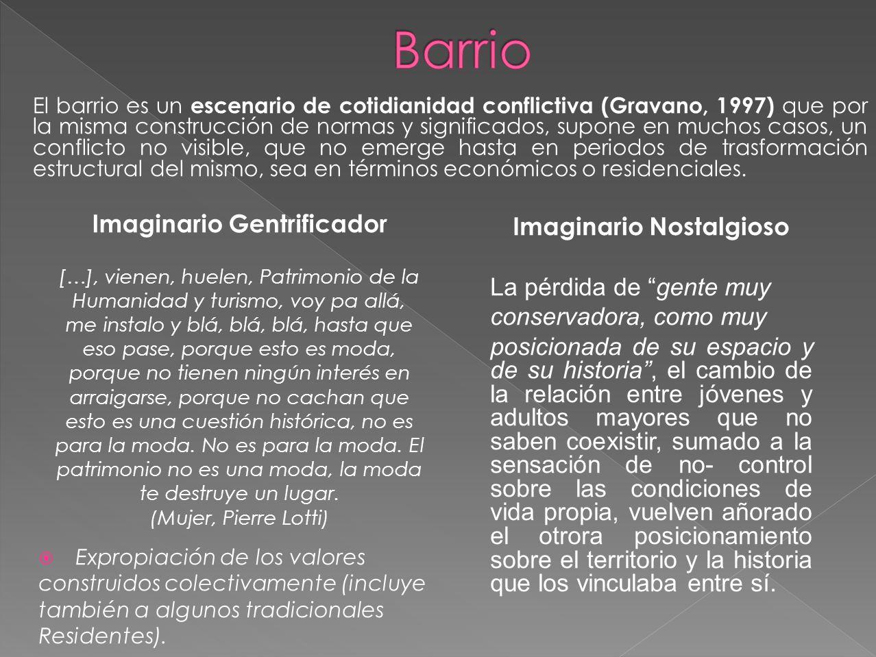Imaginario Gentrificador Imaginario Nostalgioso
