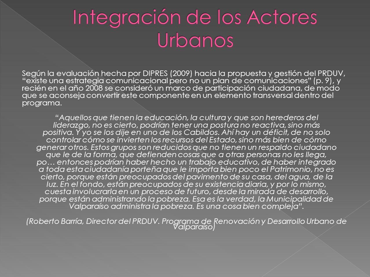 Integración de los Actores Urbanos
