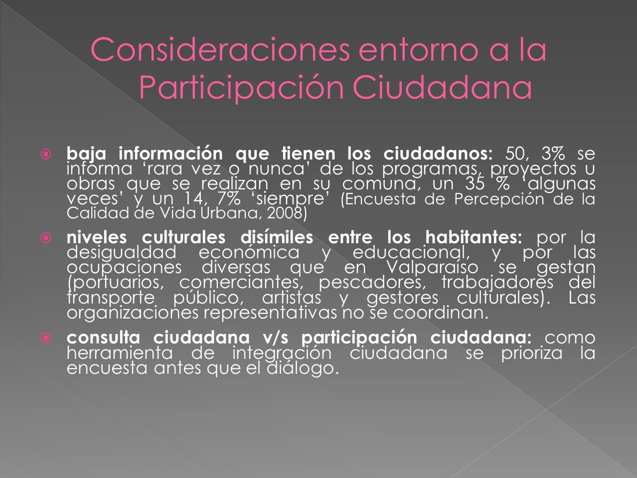 Consideraciones entorno a la Participación Ciudadana