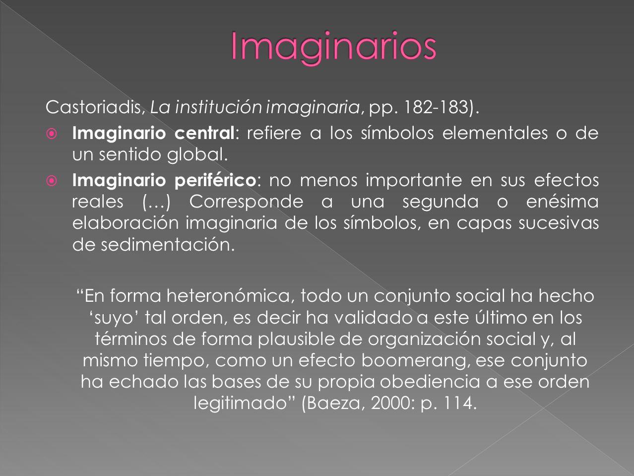 Imaginarios Castoriadis, La institución imaginaria, pp. 182-183).