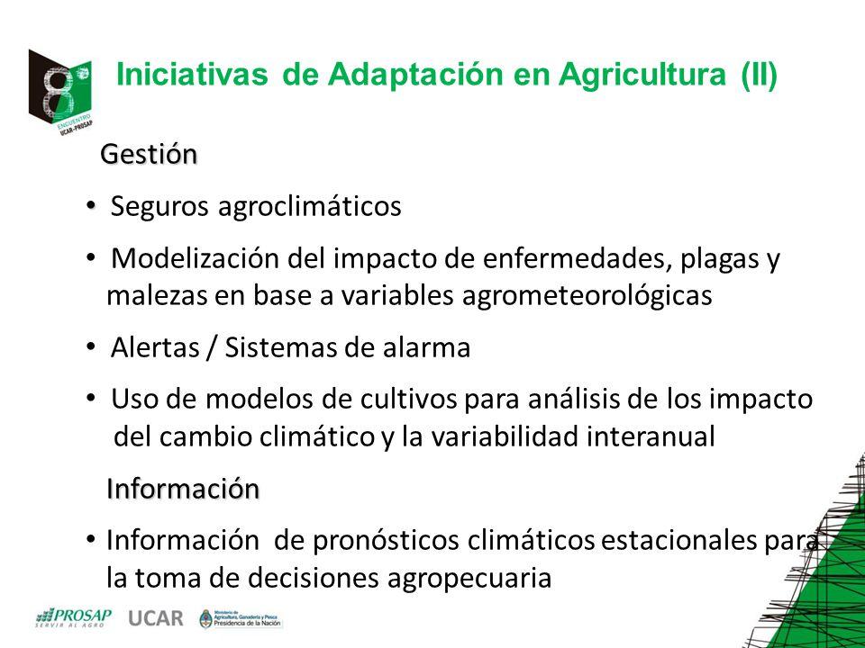 Iniciativas de Adaptación en Agricultura (II)
