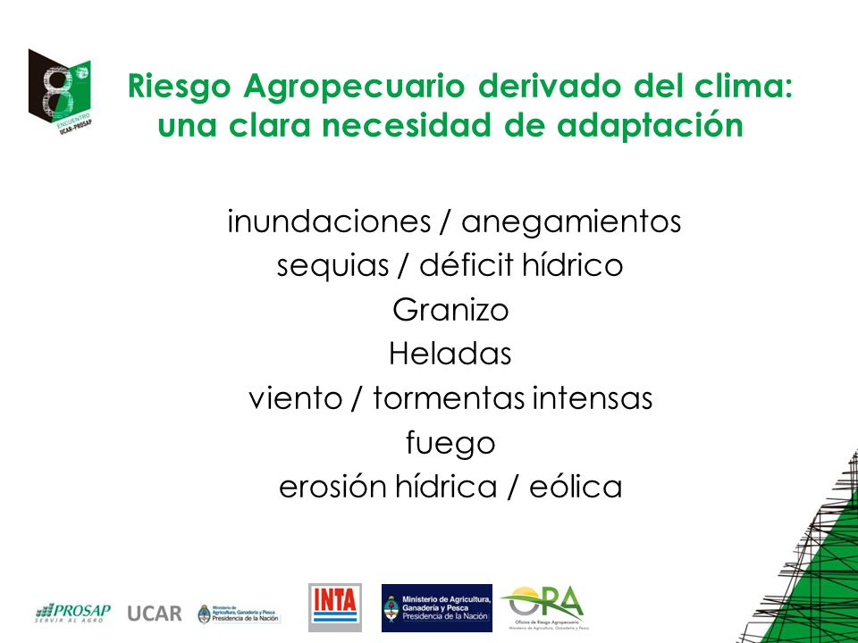 Riesgo Agropecuario derivado del clima: una clara necesidad de adaptación