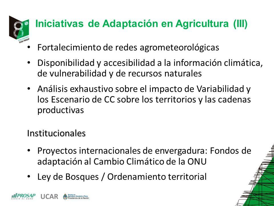 Iniciativas de Adaptación en Agricultura (III)